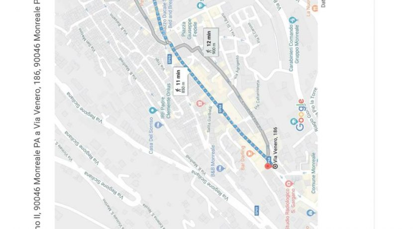 Foto Google Maps - da Via Venero 186 a Piazza Guglielmo II, Monreale PA